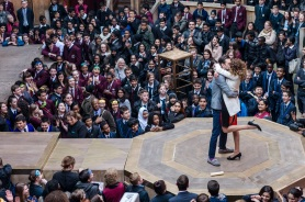 """Playing Shakespear with Deutsche Bank"", PSWDB, at the Globe Theatre. School children get the chance to see a Shakepear play ""The Merchant of Venice"" performed at the Globe. Date: 12 March 2014 Photograph by Amit Lennon"
